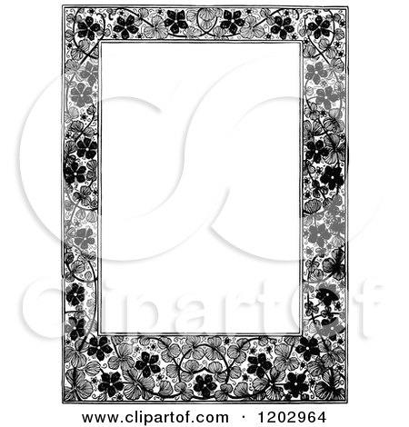 Clipart of a Vintage Black and White Floral Page Border 3 - Royalty Free Vector Illustration by Prawny Vintage