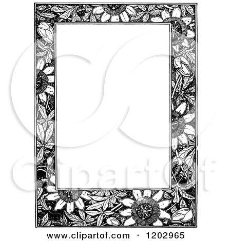 Clipart of a Vintage Black and White Floral Page Border 4 - Royalty Free Vector Illustration by Prawny Vintage