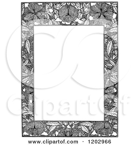 Clipart of a Vintage Black and White Floral Page Border 5 - Royalty Free Vector Illustration by Prawny Vintage