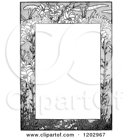 Clipart of a Vintage Black and White Floral Page Border 6 - Royalty Free Vector Illustration by Prawny Vintage