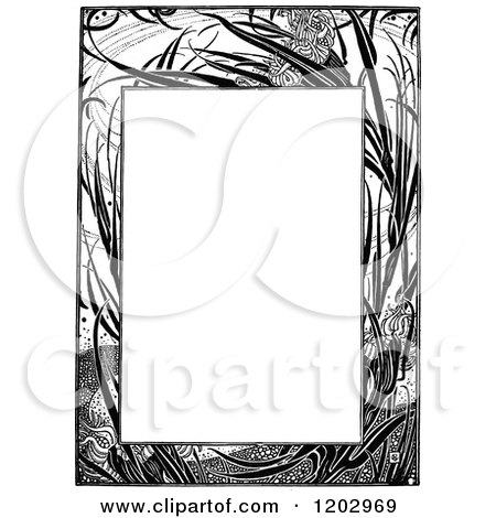 Clipart of a Vintage Black and White Floral Page Border - Royalty Free Vector Illustration by Prawny Vintage