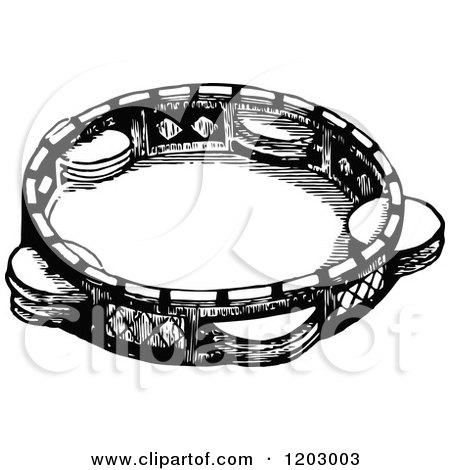 Cartoon of a Vintage Black and White Timbrel - Royalty ...
