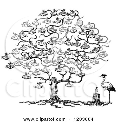 Clipart of a Vintage Black and White Stork and Baby Tree - Royalty Free Vector Illustration by Prawny Vintage