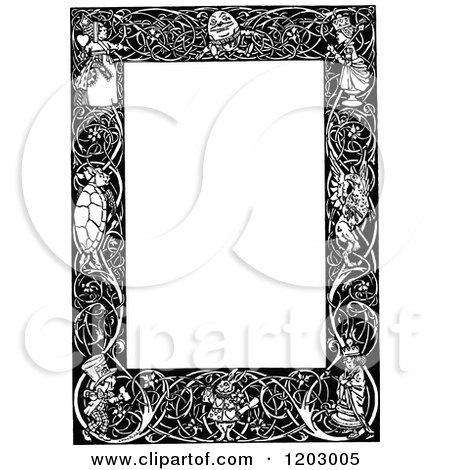 Cartoon of a Vintage Black and White Alice in Wonderland Page Border - Royalty Free Vector Clipart by Prawny Vintage