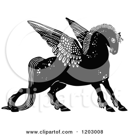 Clipart of a Vintage Black and White Winged Horse - Royalty Free Vector Illustration by Prawny Vintage