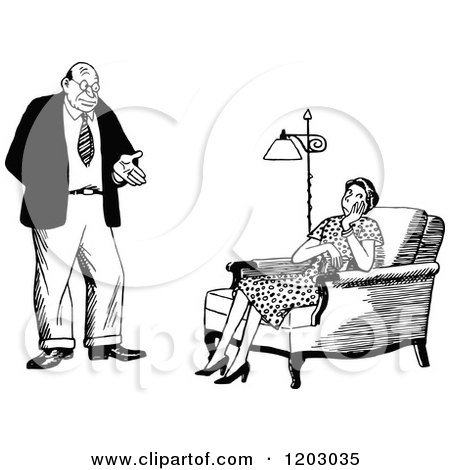 Cartoon of a Vintage Black and White Couple, the Wife Unimpressed - Royalty Free Vector Clipart by Prawny Vintage