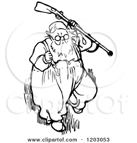 Clipart of a Vintage Black and White Old Man with a Gun - Royalty Free Vector Illustration by Prawny Vintage