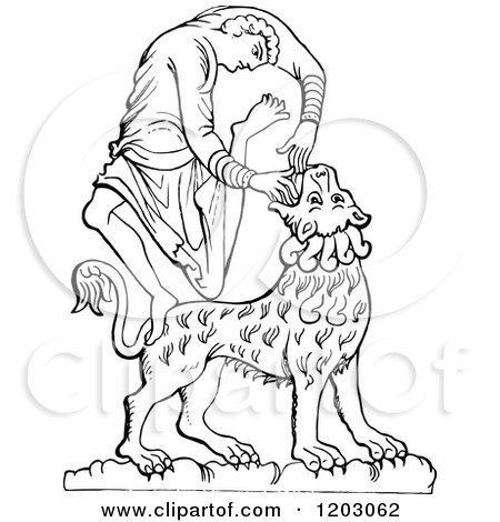 Clipart of a Vintage Black and White David and the Lion - Royalty Free Vector Illustration by Prawny Vintage