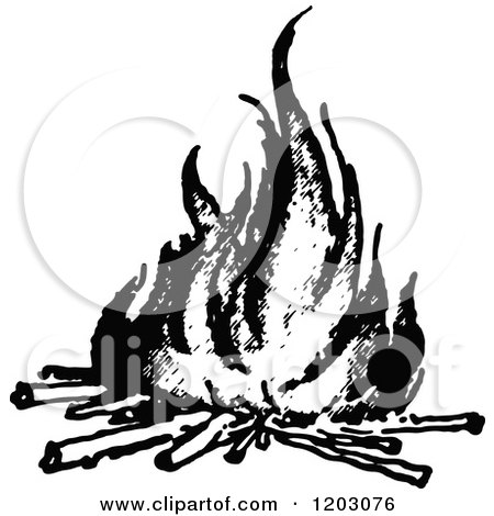 Clipart of a Retro Vintage Black and White Fire with Logs ...