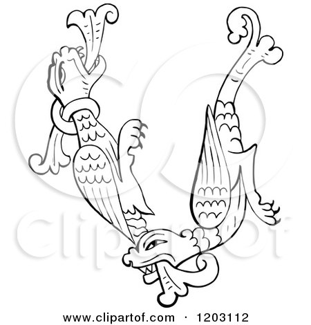 Clipart of a Vintage Black and White Anglo Saxon Dragon Design - Royalty Free Vector Illustration by Prawny Vintage