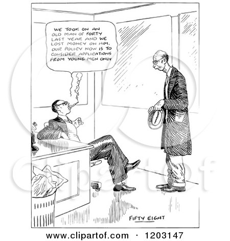 Cartoon of a vintage black and white man job hunting for Senior citizen fishing license