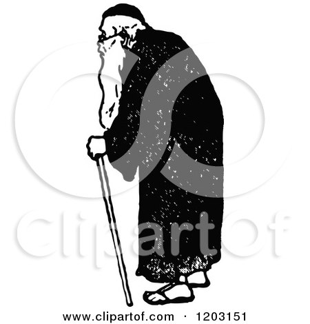 Clipart of a Vintage Black and White Old Man - Royalty Free Vector Illustration by Prawny Vintage