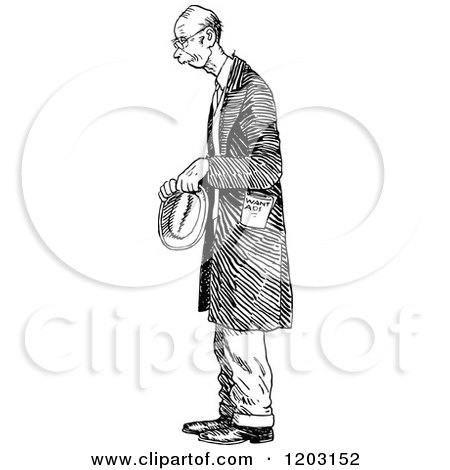 Cartoon of a Vintage Black and White Nervous Old Man - Royalty Free Vector Clipart by Prawny Vintage