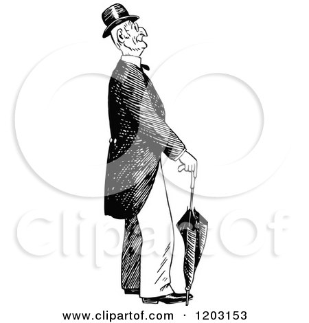 Cartoon of a Vintage Black and White Old Man with an Umbrella - Royalty Free Vector Clipart by Prawny Vintage