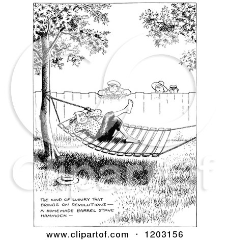 Cartoon of a Vintage Black and White Boy Hanging out in a Hammock - Royalty Free Vector Clipart by Prawny Vintage