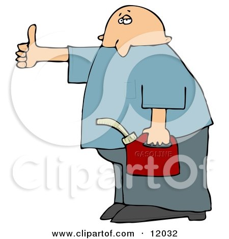 Man Holding a Gas Can and Hitch Hiking After Running Out of Gasoline Cartoon Clipart by djart