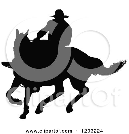 Clipart of a Black Silhouetted Horseback Cowboy Swinging a Whip - Royalty Free Vector Illustration by Maria Bell