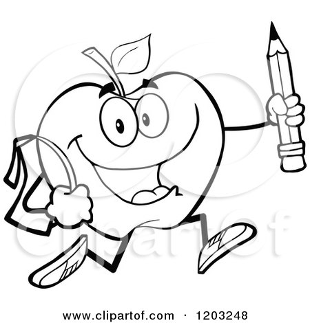 Cartoon of a Black and White Apple Character Student ...