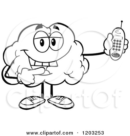Cartoon of a Black and White Happy Brain Mascot Holding a Cell Phone - Royalty Free Vector Clipart by Hit Toon