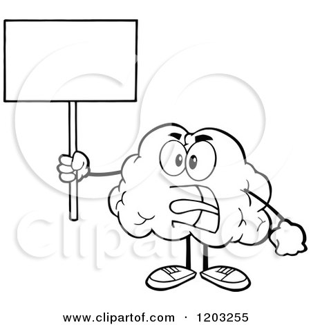 Cartoon of a Black and White Brain Mascot Screaming and Holding a Sign - Royalty Free Vector Clipart by Hit Toon