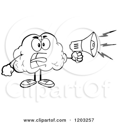 Cartoon of a Black and White Brain Mascot Using a Megaphone - Royalty Free Vector Clipart by Hit Toon