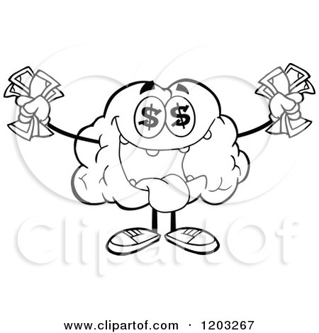 Cartoon of a Black and White Brain Mascot with Dollar Eyes and Cash 2 - Royalty Free Vector Clipart by Hit Toon