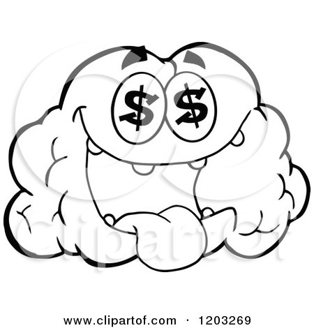 Cartoon of a Black and White Brain Mascot with Dollar Eyes - Royalty Free Vector Clipart by Hit Toon