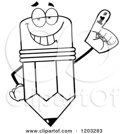 Cartoon of a Black And White Pencil Mascot Wearing a Number 1 Foam Finger - Royalty Free Vector Clipart by Hit Toon