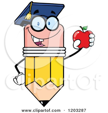 Cartoon of a Pencil Mascot Graduate Holding an Apple - Royalty Free Vector Clipart by Hit Toon