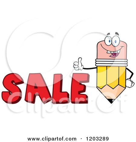 Cartoon of a Pencil Mascot Holding a Thumb up over the Word SALE - Royalty Free Vector Clipart by Hit Toon