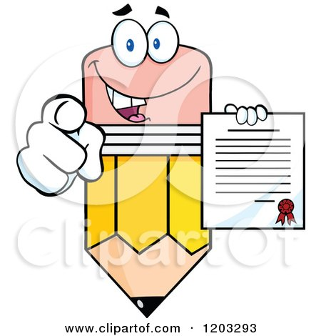 Cartoon of a Pencil Mascot Holding a Contract and Pointing - Royalty Free Vector Clipart by Hit Toon