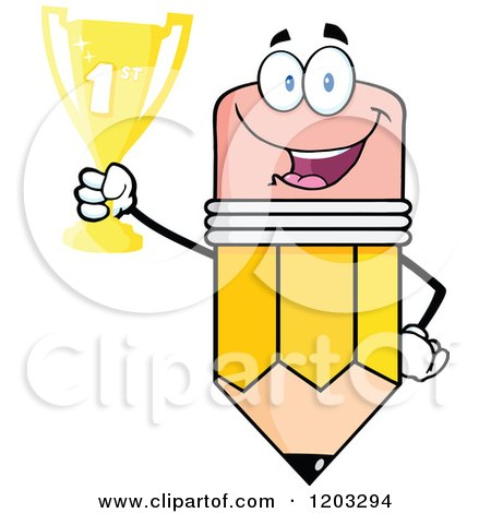 Cartoon of a Pencil Mascot Holding a Trophy - Royalty Free Vector Clipart by Hit Toon
