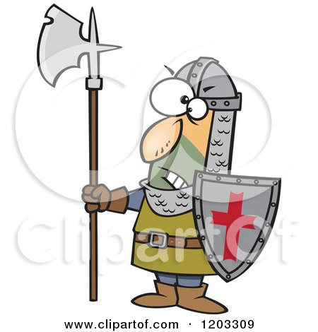 Cartoon of an Angry Medieval Castle Guard with an Axe and Shield - Royalty Free Vector Clipart by toonaday