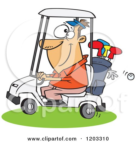 Cartoon Of A Happy White Man Driving A Golf Cart Royalty Free Vector Clipart