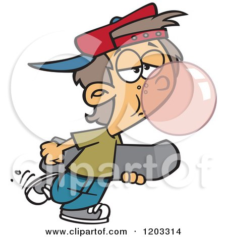 Cartoon of a White Teen Boy Blowing a Bubble with Gum and Carrying a Skateboard - Royalty Free Vector Clipart by toonaday