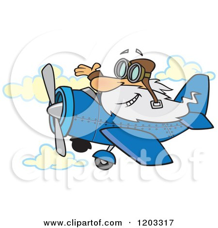 Cartoon of a Happy Old White Man Waving and Flying a Plane - Royalty Free Vector Clipart by toonaday