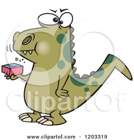 Cartoon of a Green Dinosaur Eating a Block - Royalty Free Vector Clipart by toonaday