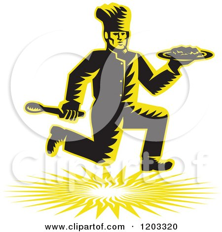 Clipart of a Retro Woodcut Chef Running with a Plate and Spoon - Royalty Free Vector Illustration by patrimonio