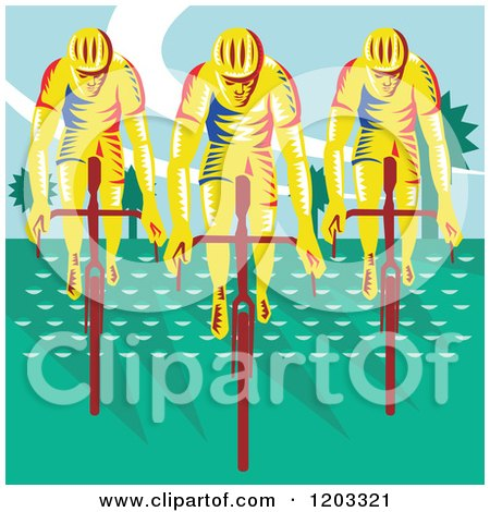 Clipart of a Retro Woodcut Cyclist Trio on Bicycles - Royalty Free Vector Illustration by patrimonio