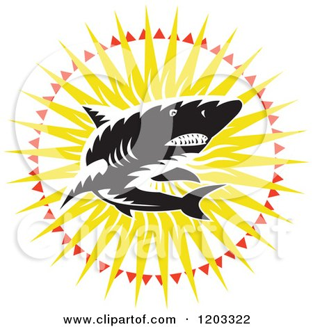 Clipart of a Retro Woodcut Black and White Shark in a Sunburst - Royalty Free Vector Illustration by patrimonio