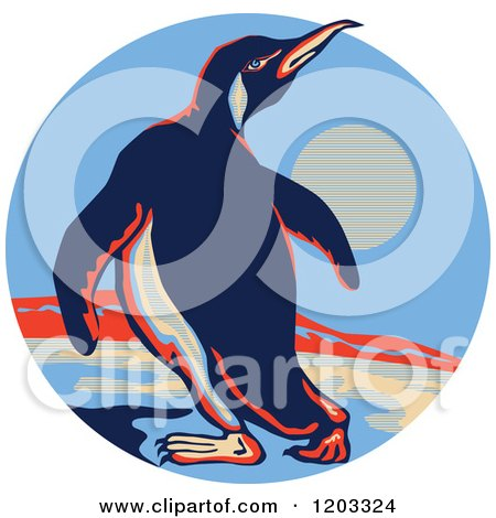 Clipart of a Retro Emperor Penguin on Ice in a Circle Scene - Royalty Free Vector Illustration by patrimonio