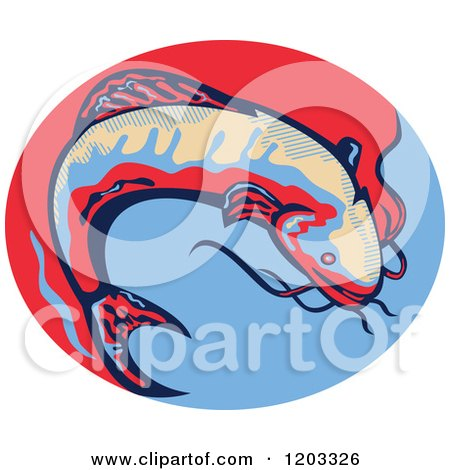 Clipart of a Retro Jumping Catfish over a Red and Blue Oval - Royalty Free Vector Illustration by patrimonio