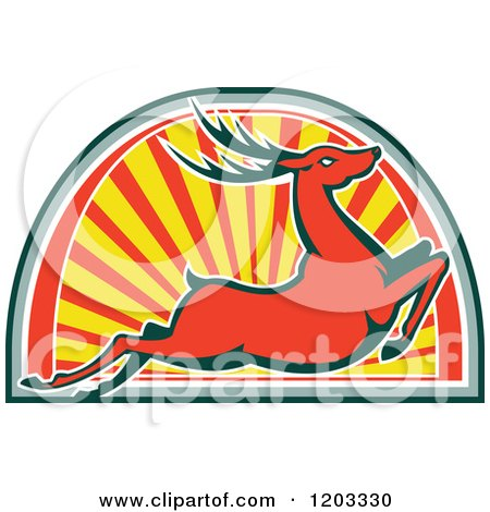 Clipart of a Retro Deer Stag Leaping over an Arch of Rays - Royalty Free Vector Illustration by patrimonio