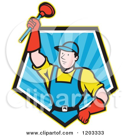 Cartoon Super Plumber Holding up a Plunger in a Blue Ray Pentagon Posters, Art Prints