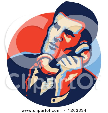 Clipart of a Retro Man Talking on a Telephone in a Blue and Red Circle - Royalty Free Vector Illustration by patrimonio