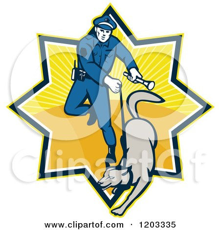 Clipart of a Retro Police Officer and Dog in a Ray Burst - Royalty Free Vector Illustration by patrimonio