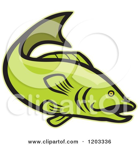 Clipart of a Green Cartoon Largemouth Bass Fish - Royalty Free Vector Illustration by patrimonio