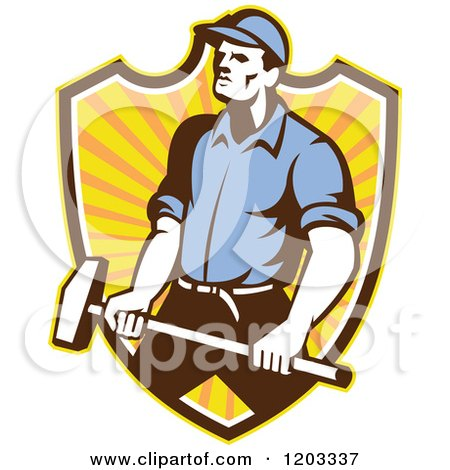 Clipart of a Retro Worker Man Holding a Sledgehammer over a Ray Shield - Royalty Free Vector Illustration by patrimonio