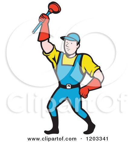 Clipart of a Cartoon Super Plumber Holding up a Plunger - Royalty Free Vector Illustration by patrimonio