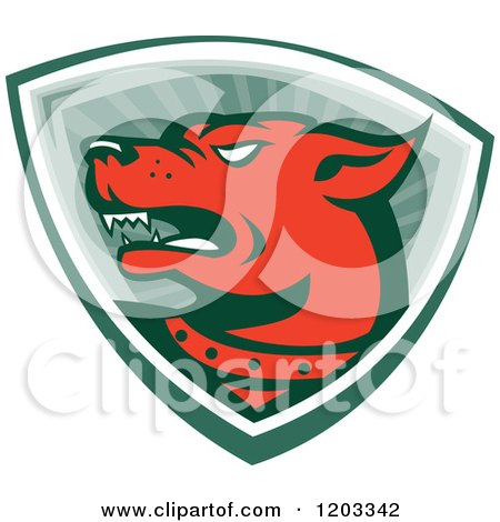 Clipart of a Retro Red Angry Dog over a Shield of Rays - Royalty Free Vector Illustration by patrimonio
